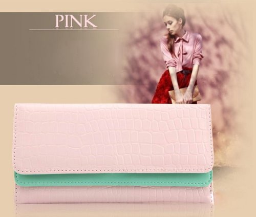 KLOUD City ® Pink Synthetic Leather Stone Pattern Double Layer Women Wallet