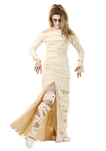 Adult Full Length Mummy Dress Women's Bandaged Mummy Costume Medium Cream