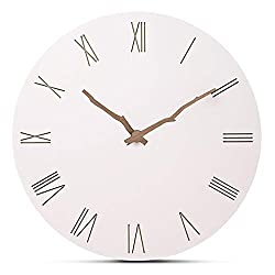 FlorLife 12 Vintage Roman Numeral Wall Clock, Simple European Style MDF Wooden White Decorative Round Wall Clock Aa Clock for Home Decor