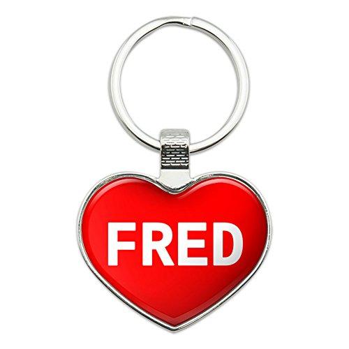 Metal Keychain Key Chain Ring I Love Heart Names Male F - Fred (Hearts Women Ring Chrome)
