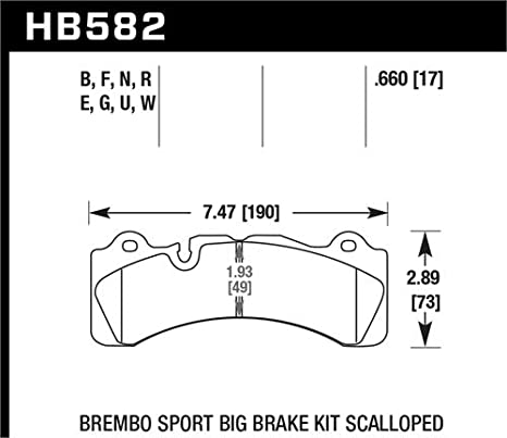 HB110U.654 Hawk Semi-Metallic DTC-70 Disc Brake Pads fits Alcon and AP Racing