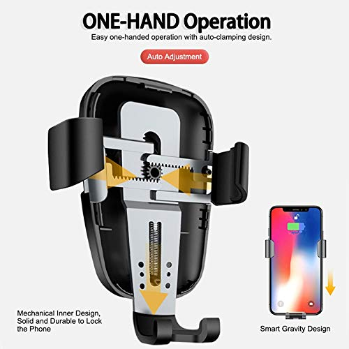 Fast Wireless Charger and Gravity Air Vent Car Mount Compatible with iPhone X//Xs//Xs Max//XR//8 Plus Upgraded 2in1 10W Wireless Car Charger Mount Samsung Galaxy S9//S8//S7//S6 Charging Qi Phone Devices Yzyway
