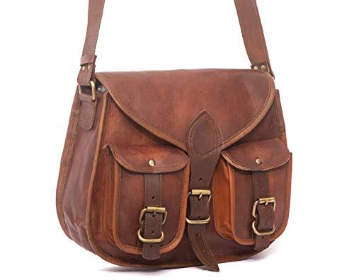 Women's Handmade Leather Boho-Gypsy Purse - Smart Green Canvas Lining and Reinforced Hand-Stitching - 3 Compartments, Plus 1 Zippered Pocket - Crossbody Purse for Business and Pleasure - 13 Inches ()