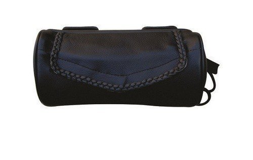 (AL3510 Allstate Leather - Genuine Leather Motorcycle Tool Bag - Braided Leather edging)