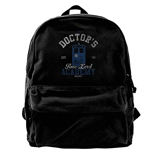 WUHONZS Canvas Backpack The Doctors Time Lord Academy Doctor Who Rucksack Gym Hiking Laptop Shoulder Bag Daypack for Men Women ()
