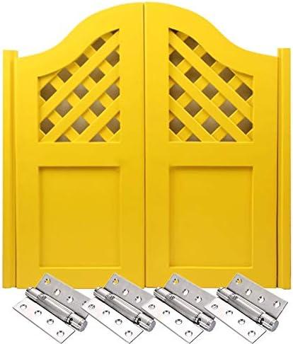 スイングドア、 カフェドアプレメイド、 モミのドアの葉 スプリングヒンジ 双方向ドア開口部 自動閉鎖 バーの場合、 ポーチ、 廊下 (Color : Yellow, Size : 100x100cm)