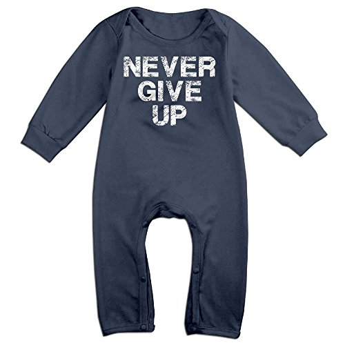 Baby Infant Romper Never Give Up Long Sleeve Jumpsuit Costume Navy 6 M