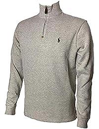 Mens Half Zip French Rib Cotton Sweater (Medium, Tan)