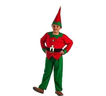 El Rey del Carnaval Disfraz de Elfo Rojo y Verde para niño: Amazon ...