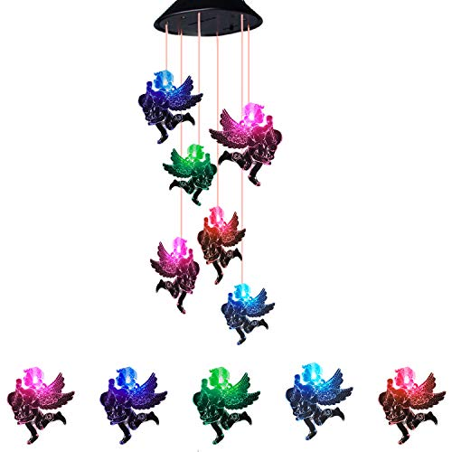 S SUNINESS LED Angel Solar Wind Chimes Outdoor Changing Color Wind Mobile Spiral Spinner Portable Decorative Romantic Windbell Light for Patio Yard Garden Home Pathway