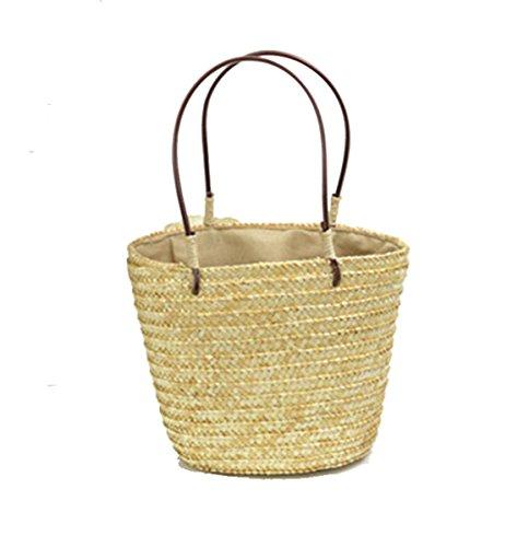 FairyBridal Women Beach Straw Totes Bucket Handbag,Hand-made Shoulder Bag