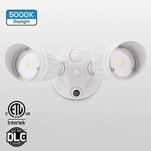Dusk Lamp To Dawn (20W Dual-Head Dusk to Dawn LED Outdoor Security Light, Photocell, DLC-Listed Exterior Lamp, 120W Halogen Equiv, Daylight 5000K, 1600Lm Floodlight, Entryways, Porch, White)