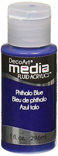 Deco Art Media Fluid Acrylic Paint, 1-Ounce, Phthalo Blue