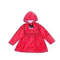 QNJM Pure Color Raincoat Princess Child Raincoat Girl Poncho 69CM