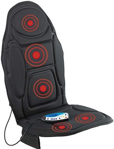 VITALmaxx Massagematte mit Wärmefunktion   Weiche, komfortable Sitz Auflage   5 Vobrationsmotoren für 4 Verschiedene Massagearten   mit Timerfunktion [schwarz]