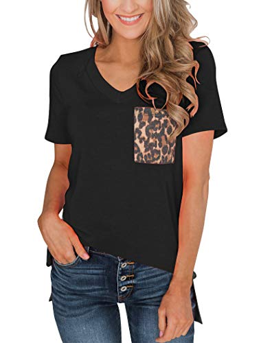 Minclouse Women's Leopard Pocket Summer Tops Short Sleeves V Neck T Shirt Casual Basic Tees with Side Slits