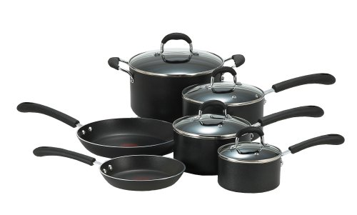 T-fal E938SA Professional Total Nonstick Oven Safe Thermo-Spot Heat Indicator 10-Piece Dishwasher Safe Cookware Set, Black (Best Nonstick Cookware 2019)