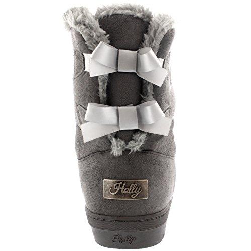 Womens Twin Bow Tall Classic Waterproof Winter Rain Snow Boots Grey SLjXz