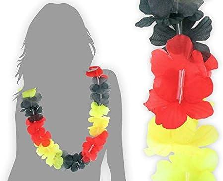 Fiori Gialli Germania.Alsino Collana Hawaiana Hk 16 Nero Rosso Giallo Germania Tessile
