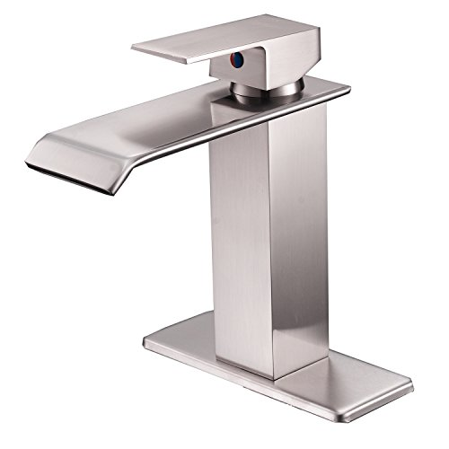 BWE Waterfall Spout Brushed Nickel Single Handle One Hole Bathroom Sink Faucet Deck Mount Lavatory (One Handle Hole One)