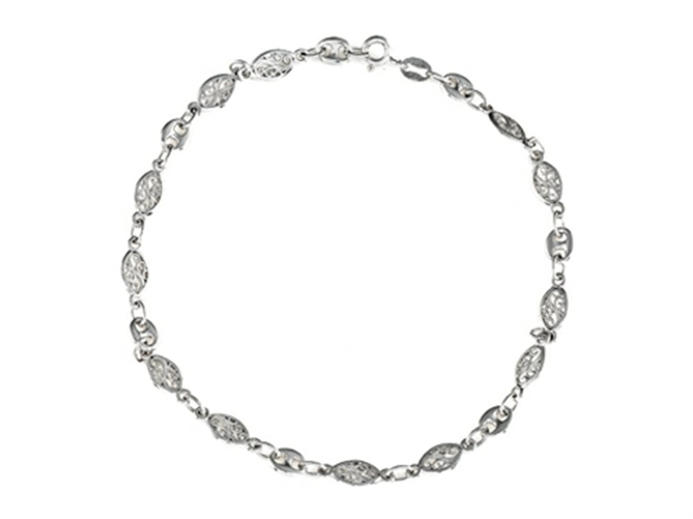 Finejewelers 9 Inches Ankle Bracelet (Smaller Ankles) Sterling Silver