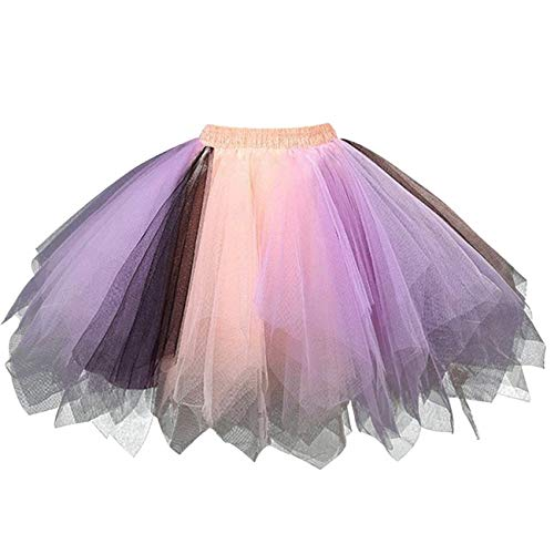 Adult Women 80's Tutu Skirt Layered Tulle Petticoat Halloween Tutu Purple/Pink/Black]()