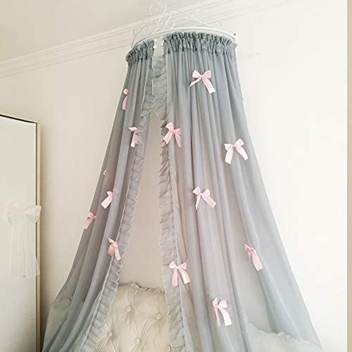 姫ベッドキャノピー,装飾的なドレープと金属の王冠が付いている裁判所シフォンベッドカーテン 弓-寝室のための結び目-b