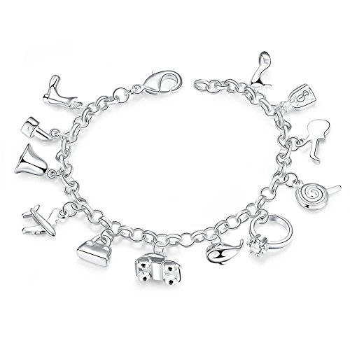 Drum Italian Charm (Multi-Elements Charm Beads Link Bracelet with Highheel Car Bell Plane Lipstick Bag Dolphin Boot Guitar)
