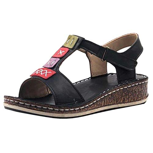 VESNIBA Fashion Ladies Sandals Summer Thick Straps Sandals Roman Slope with Casual Open Toe Sandals Large Size Sandals Black ()