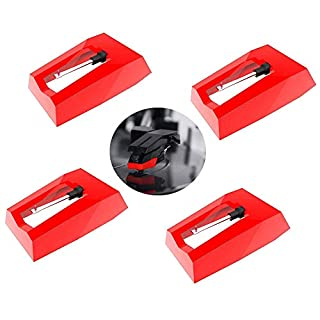 Record Player Needles 4 Pack, Suewio Turntable Diamond Replacement Stylus Needles for Vinyl Record Player, LP, Phonograph