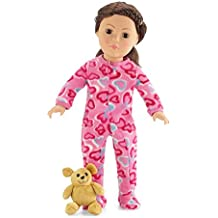 18 Inch Doll Pink Footed Heart Pajamas PJs with Teddy Bear | Clothes Fit American Girl Dolls | Onesie Style | Gift Boxed!