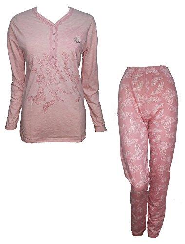 pigiama donna lungo serafino cotone LAURA BIAGIOTTI art. 96041 nuova collezione (S, rosa)