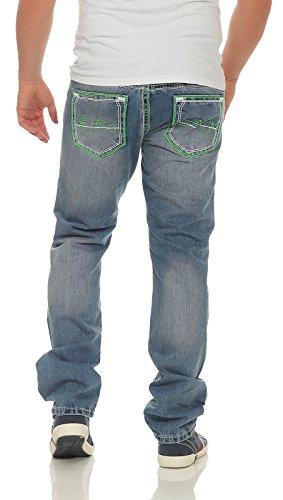 de Ajuste Denim Vintage Verde 735 Vaqueros Contraste Amica by Hombre con Rectos Vaqueros Costuras Azul Cleostyle nqIAnPwg0