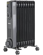 VonHaus Mini Oil Filled Radiator 800W 6 Fin – Portable Electric Small Heater – Adjustable Temperature & Tip Over Safety Switch – Black
