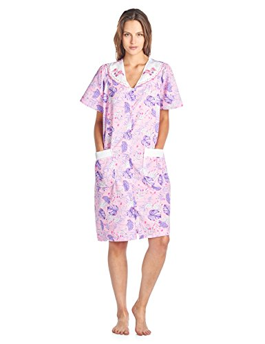 Casual Nights Women's Woven Snap-Front Lounger House Dress - Pink - X-Large (Robe Dress Day Front)