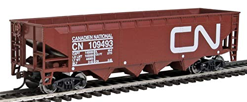 (Walthers Trainline Offset Hopper - Ready to Run -- Canadian National (brown, white; Large Logo) HO Scale)