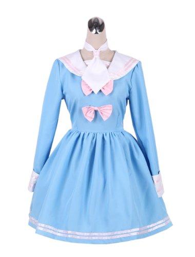 (Antaina Blue Cotton Ruffle Bows Sweet Sailor Collar Lolita Cosplay Dress,XXL)
