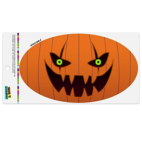 Graphics and More Jack-o'-Lantern Pumpkin Face Halloween Decoration Automotive Car Refrigerator Locker Vinyl Euro Oval Magnet