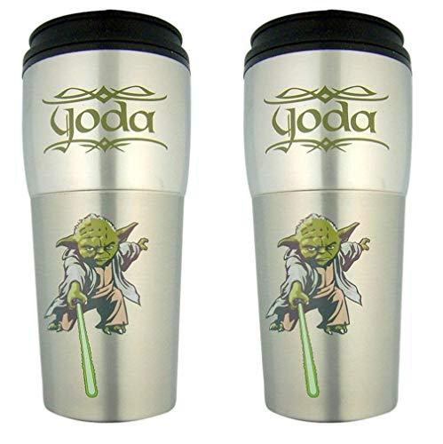 Star Wars Yoda Stainless Steel Travel Mug, Set of 2, 16 Ounce