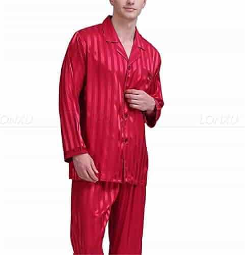 Hufong Mens Silk Satin Pajamas Pajama Pyjamas Short Set Sleepwear Loungewear