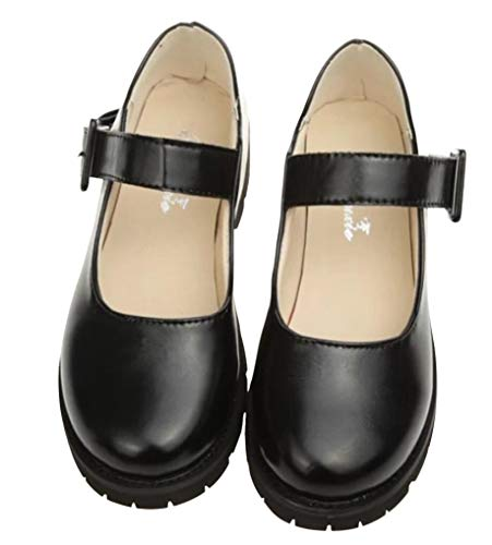 Women Oxford Shoes Wide Width Girls Low Heel Uniform Dress Shoes Cosplay Shoes (7.5, Black)