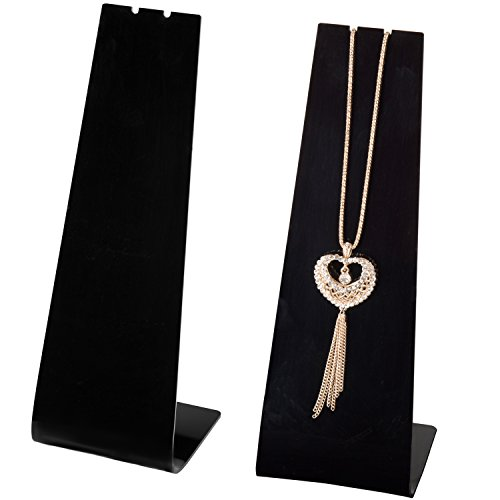 Necklace Display Pendant Stand - MyGift Modern Black Acrylic Necklace Display Stand, Set of 2
