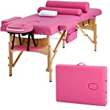 """Massage Table Massage Bed Spa Bed Height Adjustable 2 Fold Portable 73"""" Massage Table W/Sheet Cradle Cover 2 Bolster Hanger Facial Salon Tattoo Bed"""