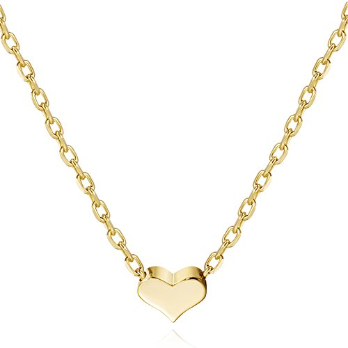 S.Leaf 14K Gold Plated Heart Necklace Sterling Silver Dainty Necklace Gold Necklaces for Women (Gold, -
