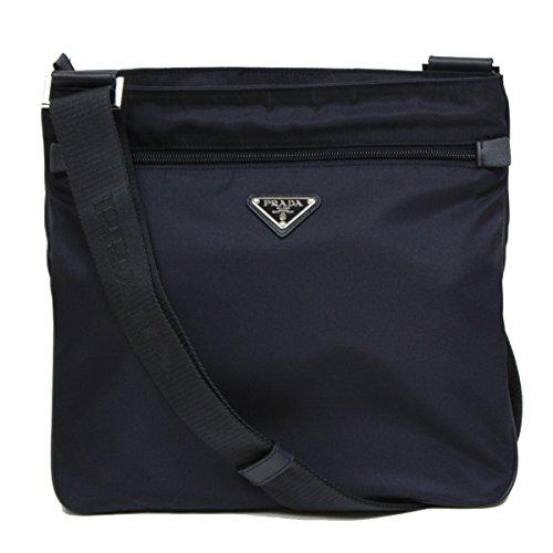 Prada Black Tessuto Nylon & Saffian Leather Crossbody Messenger Travel Bag 2VH563 (Prada Womens Nylon Handbag)