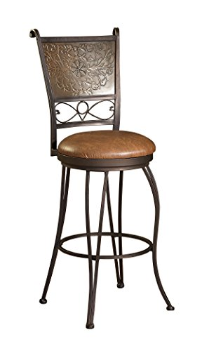 Bronze with Muted Copper Stamped Back Bar Stool, 30-Inch Sea