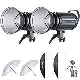 Neewer 600W Studio Strobe Flash Photography Lighting Kit:(2)300W Monolight,(2)Reflector Diffuser,(2)Softbox,(2)33 Inches Umbrella,(1)RT-16 Wireless Trigger for Shooting Bowens Mount(S-300N)