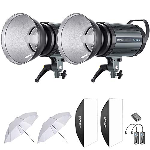 Neewer 600W Studio Strobe Flash Photography Lighting Kit:(2) 300W Monolight,(2) Reflector Diffuser,(2) Softbox,(2) 33 Inches Umbrella,(1) RT-16 Wireless Trigger for Shooting Bowens ()