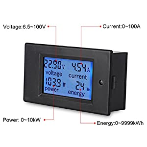 VANJING DC 6.5-100V 0-100A LCD Digital Display Voltmeter with 100A Shunt Power Energy Meter Multimeter Amperage Ammeter (DC 100A Tester)