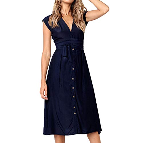 Women Dresses Clearance Sexy Stripe Button Backless Dress Evening Party Dress With Belt (Blue,XL)